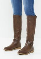 Miss Black - Dolinde knee length boot - brown
