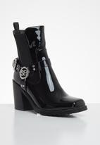 Sissy Boy - Patent case chunky boot - black