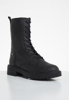 Footwork - Harper combat mid calf boot - black