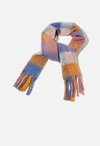 Rubi - Phoebe brushed tassel scarf - autumn check