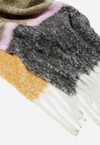 Rubi - Phoebe brushed tassel scarf - soft mauve colour block
