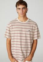 Cotton On - Dylan T-shirt - barn red 70s stripe