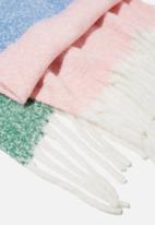 Rubi - Phoebe brushed tassel scarf - air blue colour block