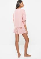 Superbalist - Sleep long sleeve fitted top & shorts set - dusty pink