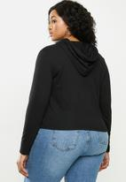 Blake - Soft touch cropped hoodie - black