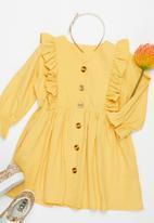 POP CANDY - Girls ruffle dress with buttons - mustard