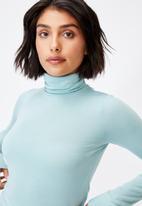 Cotton On - Basic roll neck long sleeve top - horizon blue
