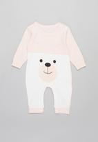 POP CANDY - Baby girls bear romper - white & pink