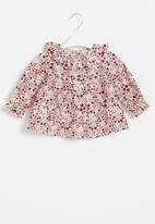 POP CANDY - Baby girls long sleeve printed dress - red & white