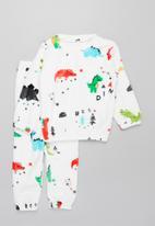 POP CANDY - Boys coral fleece pj set - white