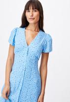 Cotton On - Woven indi short sleeve v-neck button through midi - blue