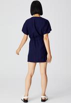 Cotton On - Woven lena short sleeve utility shirt mini dress - indigo