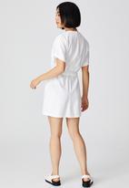 Cotton On - Woven lena short sleeve utility shirt mini dress - white