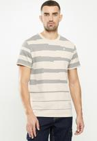 G-Star RAW - Pixalated stripe r short sleeve tee - beige & grey