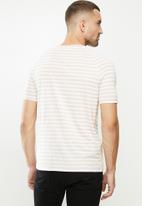 G-Star RAW - Korpaz stripe gr slim r short sleeve tee - white & beige