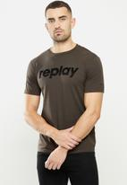 Replay - Replay logo tee - brown
