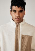 Factorie - Reversible sherpa ski jacket - off white & beige
