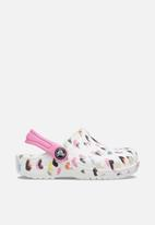 Crocs - Classic heart print clog kids - white & pink