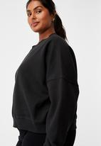Cotton On - Curve classic crew neck pullover - washed black