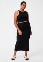 Cotton On - Curve knit midi skirt - black