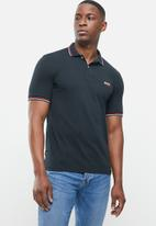Superdry. - Classic micro lite tipped short sleeve polo - eclipse navy