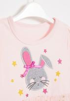 POP CANDY - Girls bunny mesh combo dress - pink