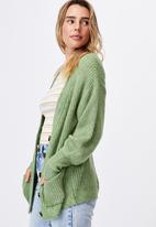 Cotton On - Dad rib cotton blend cardigan - green