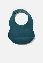 Cotton On - Silicone bib - petrol teal speckle