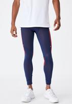 Cotton On - Active tech legging - navy & burgundy