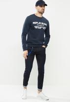 Replay - Replay jean logo crew fleece - navy