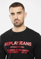 Replay - Replay jean logo crew fleece - black