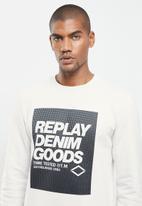 Replay - Replay denim good crew fleece - white