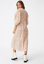 Cotton On - Woven Kaia button through midi dress - neutral