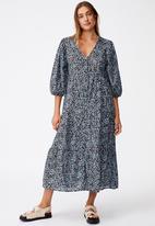 Cotton On - Woven Kaia button through midi dress - black & blue