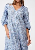 Cotton On - Woven Kaia button through midi dress - dusk blue
