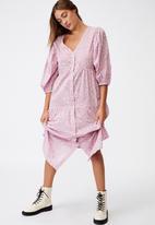 Cotton On - Woven Kaia button through midi dress - soft mauve