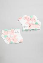 POP CANDY - Girls 5 pack printed socks - pink & white