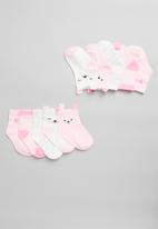 POP CANDY - Girls 5 pack kitty socks - pink & white