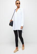 edit - Textured longline shirt - ivory