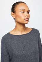 edit - Cut & sew slash neck midi - charcoal