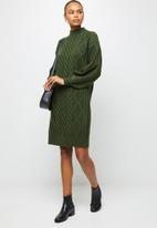 edit - Cable stitch balloon sleeve tunic - olive