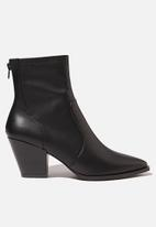 Cotton On - Stassi western sock boot - black smooth