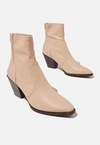 Cotton On - Stassi western sock boot - beige smooth