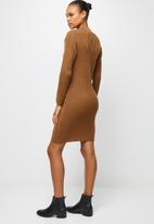 edit - Rib detail knitwear tunic - tobacco