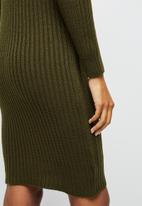edit - Rib detail knitwear tunic - fatigue