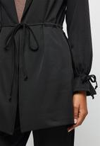 edit - Utility belted jacket - black