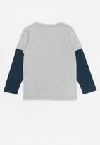 POP CANDY - Boys printed long sleeve tee - navy & grey