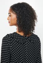 Blake - Combo peter pan collar tiered mini dress with self collar - black