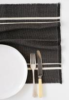 Barrydale Hand Weavers - Contemporary placemat - stripes on end - charcoal
