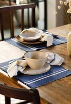 Barrydale Hand Weavers - Contemporary placemats - stripes on end set of 2 - indigo